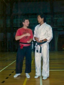 Walter Toch & John Liu Filmactor & Kung Fu Master , invited on my Int. Festival of Martial Arts en Int. Stage.
